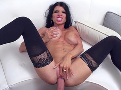Hung man nicely stretches hot brunette in XXX stockings Romi Rain