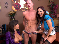 Moms Lisa Ann and Ava Addams with big tits play with cock using tie