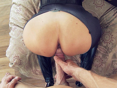 Brunette mom Ava Addams with cat ears is pussyfucked from behind