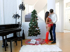 Girl in red lingerie Autumn Falls seduced by boy during Christmas morning