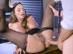 Latina mom Ariella Ferrera in stockings fucked by big-cocked boss