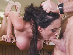 Session of deepthroat blowjob by busty mom Ariella Ferrera goes well