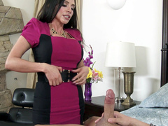 Busty stepmom Ariella Ferrera helps guy relax sucking his penis