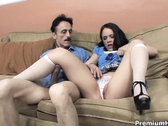 Kristina Rose is swallowing the cock of an ugly guy