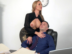 Gorgeous mom Nicole Aniston turns on revealing big tits in front of boss
