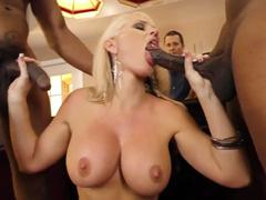 Big boobs of Alena Croft shake during interracial gangbang before cuckold