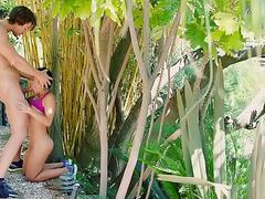 Pretty Asian wife Kaylani Lei gags on coach's hard tool among trees