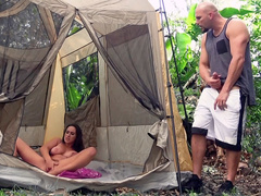 Ashley Adams doesn't want cheating and masturbates in tent instead
