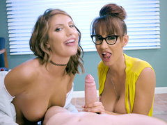 Latina mom Isis Love and August Ames punish skinny liar by blowjob