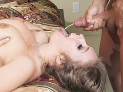 Mom Lena Paul with hairy pussy is facialized after sex in bedroom