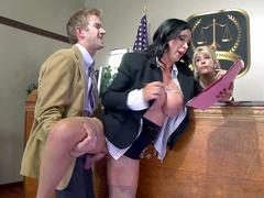 Slutty lawyer Nikki Benz gets it on with prosecutor in XXX courtroom