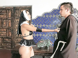 Lusty young nun with a big booty Yudi Pineda pleases herself at the church