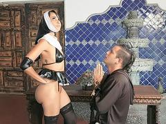 Teenage nun Yudi Pineda flashing shaved upskirt pussy and small tits