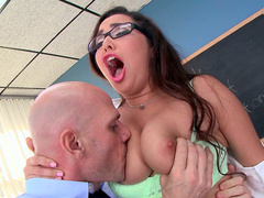 Professor fell for lustful Karlee Grey with natural boobies who easily tempted him