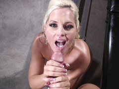 Sexy and busty mom Alena Croft is getting a dick in her mouth to suck