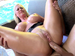 Sexy and busty pornstar Alena Croft endures deep and painful anal penetration