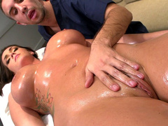 Sexy and nude porn star Alison Tyler gets her whole body rubbed down