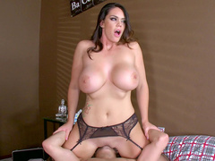 Enchanting brunette porn star Alison Tyler climbs a cock aching to cum