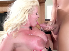 Sexy mother in law Alura Jenson takes cumshots on her big tits