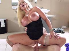 Porn star Alura Jenson is riding stiff dick reverse cowgirl style