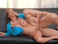 Horney porn star Alexis Fawx lying on her side gets pussy drilled