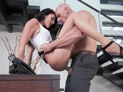 Innocent secretary Ariana Marie dragged into hot sex with bald boss