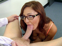 Nerdy gal Ariana Marie gives teacher blowjob in return for passing grade