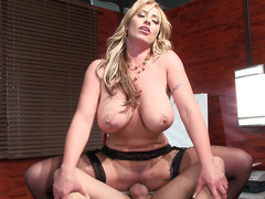 Bossy mom Eva Notty in black stockings practices cock riding in office