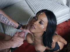 Cheating wife Kiki Minaj gets her face destroyed by the delivery man's cumshots