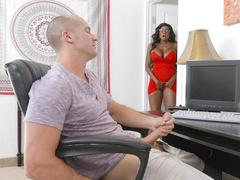 Diamond Jackson caught her stepson masturbating and started masturbating too
