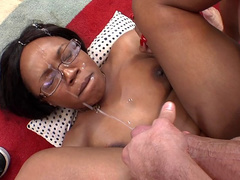 Jayden Starr getting fucked piledriver style and receiving monster load of jizz on her...