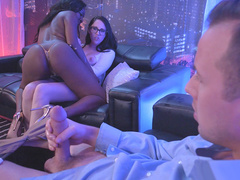 Osa Lovely licks Nickey Huntsman in front of her husband
