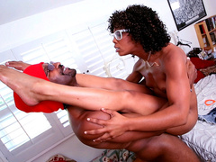 Ebony hipster Misty Stone taking black cock in the air