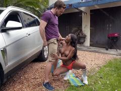 Sarah Banks gives blowjob to Kyle Mason outdoors