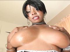 Hot babe Stacy Adams titty fucks hard white cock