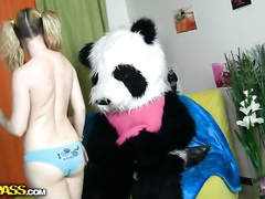 Petite teen gets her tight pussy fucked by panda