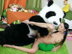 Teen beauty fucked hard with big black panda cock
