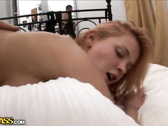 Amateur hottie hard treated with toy and big cock