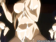 Busty anime bitch banged really hard till creampie