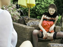Horny lesbian MILFs enjoy big black dildo swallow