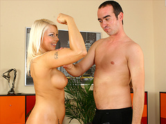 Sexy sporty blonde girl fucked hard and boob jizzed