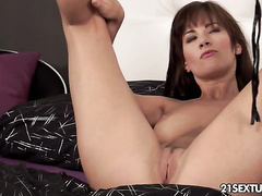 Angel fingering and sticking a dildo