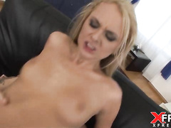 Russian blonde hottie Lilian rides cock with anus