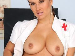 Booby nurse Valentina Rush fucking pussy with tools