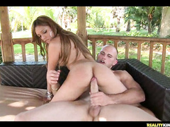 Awesome horny babe fucking huge hard cock outdoors