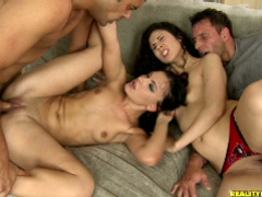 Two party girls take hardcore pussy and ass fucking