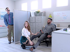 Busty blonde MILF secretary Lena Paul fills her mouth with cum