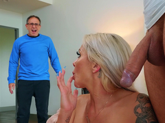 Wife Nina Elle gets caught cheating with cum all over her face
