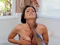 Milf Krissy Lynn sucks and titty fucks Lil D big black cock