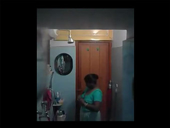 beautiful mature Indian taking bath and shower